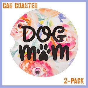 Dog Mom Floral Watercolor Stoneware Car Coasters